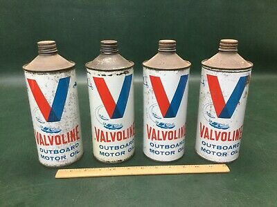 (1) One Vintage Mid Century Valvoline Outboard Motor Oil 1 Qt Cone Top Can