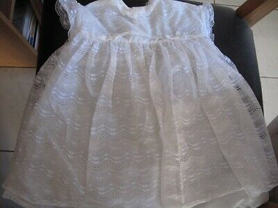 doll or premature baby vintage nylon lace dress off white colour 18 in chest