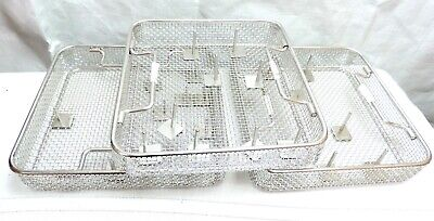 Lot of 3 Square Stainless Steel Sterilization Instrument Trays Baskets Dental