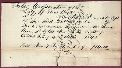 Robert H. Morris, Mayor of New York Signed Document, 1843, COA, UACC RD 036