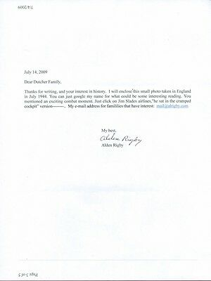 Alden Rigby, US WWII Fighter Ace, Signed Typed Letter, COA, UACC RD 036
