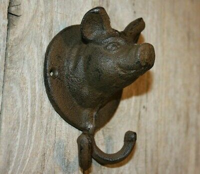 Farmhouse Mudroom Pig Decor Cast Iron Wall Hooks, Volume Priced ~ H-105
