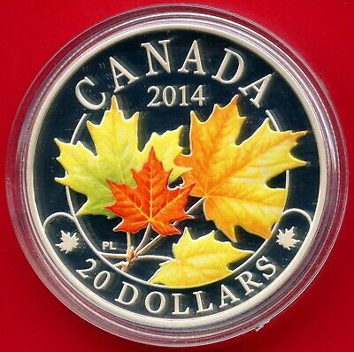 2014 Canada 20$ Colored Maple Leaves Silver 1 Oz.Coin (31.39 Grams .9999)
