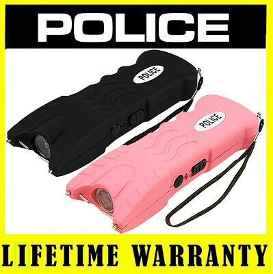 POLICE Stun Gun Flashlight 916 160 BV Rechargeable - (Black and Pink)