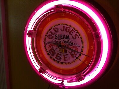 Old Joe's Steam Beer Bar Advertising Man Cave Neon Wall Clock Sign