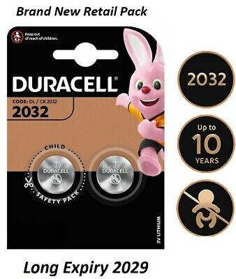 2 X Duracell CR2032 3V Lithium Button Battery Coin Cell DL/CR 2032 Expiry 2029