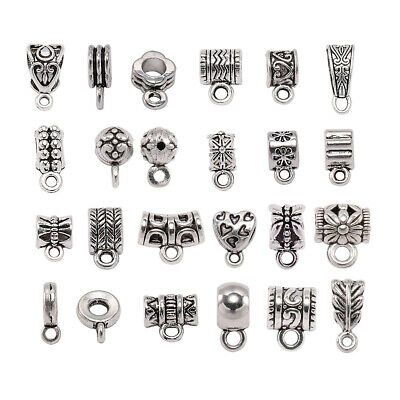 Clip Bail Beads Connector Antique Silver  Pendant Clasp DIY Jewelry Necklace
