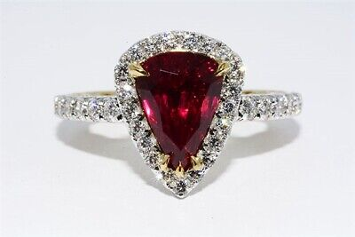 $29,995 3.42ct AGL Certified Natural No Heat Ruby & Diamond Ring 18K 2 Tone Gold