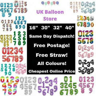 """Happy Birthday Number Balloons - All Numbers - All Colours - 40"""" - Air - Helium"""
