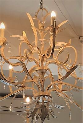 French antique-style metal 10-light chandelier with 30 pendants