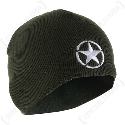 WW2 Star Beanie Hat - Knitted Acrylic Beanie for Winter Activities - Green