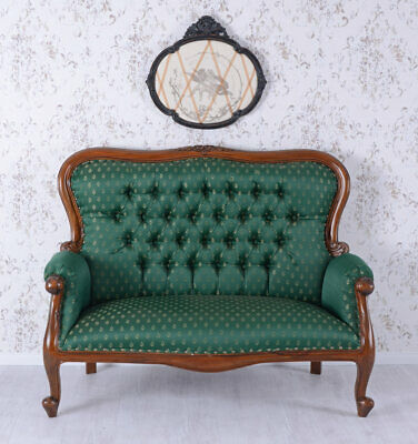 Chippendale Sofa Canape Mahogany Couch Antique Style Vintage armchair XXL wood