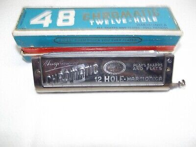 Hugo Rauner Harmonica Mundharmonika 48 Chromatic Twelve - Hole