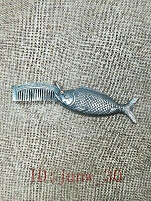 Rare Collected Old China Tibet Silver Carving Lovely Fish Whiskers Comb Pendant