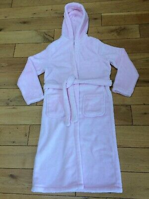 M&S Girls Pink Fleece Hooded Dressing Gown 11-12 Years