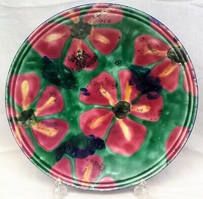 POOLE POTTERY STUDIO PINK FLOWER DESIGN 35cm BOWL OR CHARGER by JANICE TCHALENKO