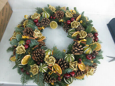 Cone & Lime Fresh Front Door Ring Wreath Christmas Cemetary Tribute 12 inches