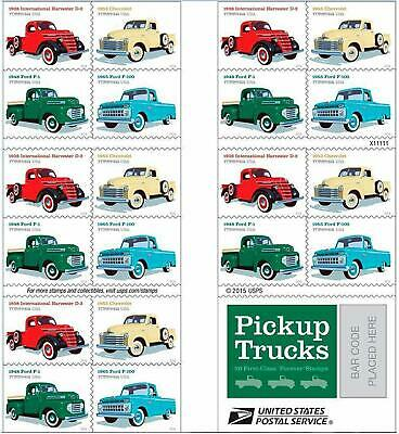 Book Of 20 Pickup Trucks Usps Forever Stamps Ford Chevy International Harvester