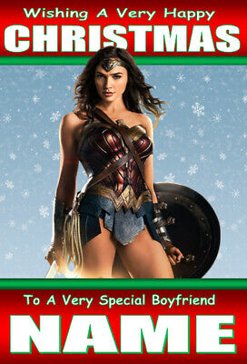 Wonder Woman Personalised Christmas Xmas Card Any Name / Any  Relation / 1