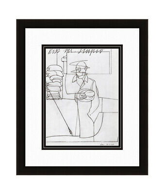 """Charming 1975 Valerio ADAMI Antique Print """"Waiting for a Kiss"""" Framed SIGNED COA"""