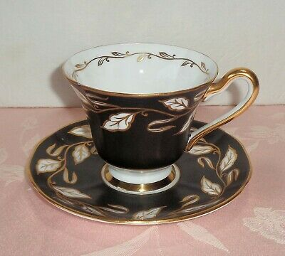 Tuscan Bone China England Tea Cup & Saucer Black White Gold Leaves Hand Painted