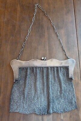 Vintage Antique Sterling Silver Chain Mail Mesh Purse Evening Bag 240 grams