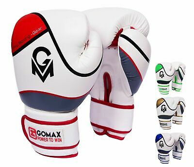 GoMax ® Professional Leather Boxing Gloves MMA Sparring Punch Bag Training Fight