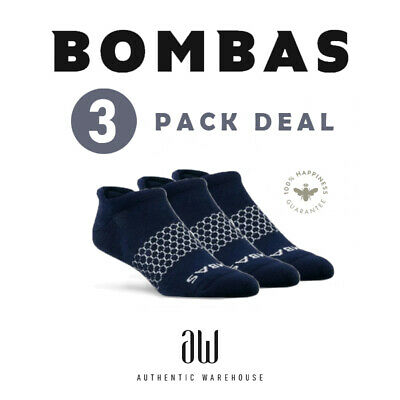 3 PACK NAVY BLUE Bombas Men's Ankle Socks Honeycomb Large FAST SHIPPING!