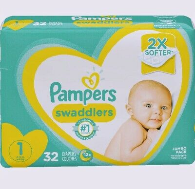 Diapers Newborn / Size 1 (8-14 lb), 32 Count - Pampers Swaddlers Disposable B...