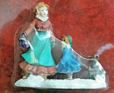 Merry Brite Christmas Village Figurine Lady Girl Wagon Teddy Bear #155254 New