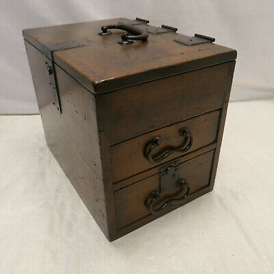 Antique Sugi Wood Calligraphy Box Japanese Drawers Circa 1890s #993