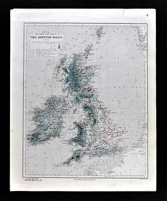 1885 Stanford Map Rain & Rivers British Isles England Scotland Ireland Antique