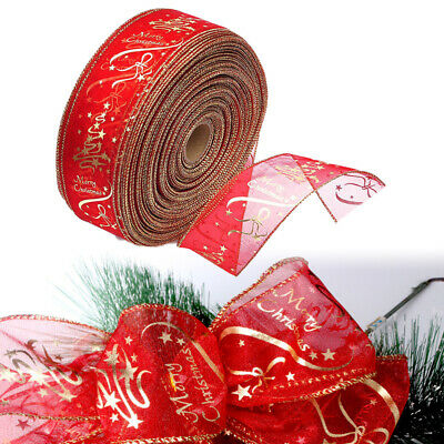 2/4M 63mm WIRED RIBBON RED & GOLD GLITTER SPARKLE CHRISTMAS CAKE GIFT TREE BOW