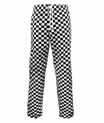 Adults Black And White Check Chef Trousers Unisex Kitchen Caterer Chefs Pants