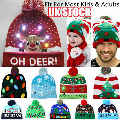 Unisex LED Knitted Xmas Beanie Hat Kids Winter Pom Pom Flashing Light Up Caps UK