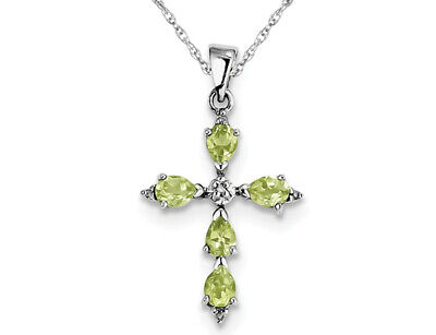 ctw 1.20 Carat Natural Peridot Cross Pendant Necklace in Sterling Silver with