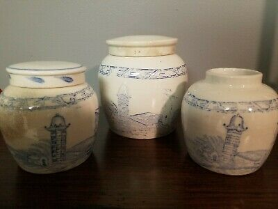 3 Antique Chinese Glazed Ceramic Ginger Jars. One small and two medium sized.