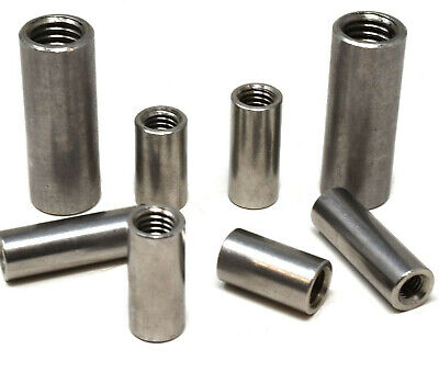 A2 Stainless Steel Long Round Cylindrical Coupling Nuts For Threaded Rod Bar