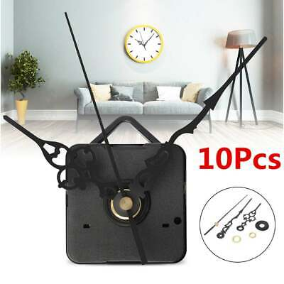 10x DIY Quartz Clock Hands Silent Wall Movement Mechanism Repair Tool Black Case