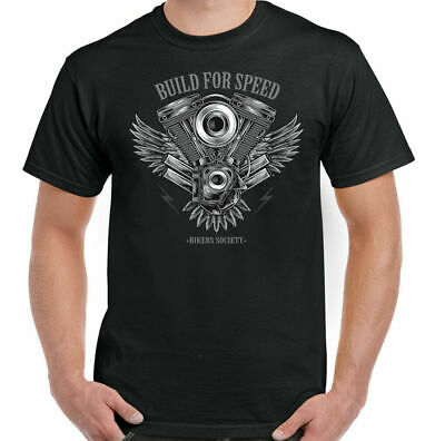 Camiseta de Motociclista Moto Motocicleta Chopper Built For Speed Top Hombre