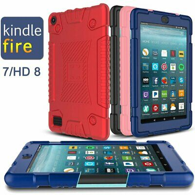 For Amazon Kindle Fire 7 / HD 8 Kids Safe Shockproof Silicone Tablet Cover Case