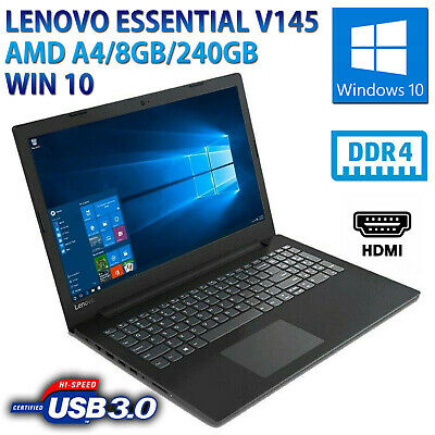 "Computer Portatile Notebook Lenovo 15,6"" Amd A4 8Gb Ddr4 Ssd 240Gb Webcam Win 10"