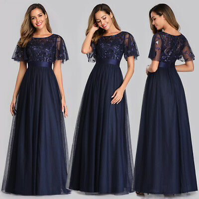 Ever-Pretty UK Plus Size Mesh Bridesmaid Dress Cocktail Wedding Party Gowns 0904