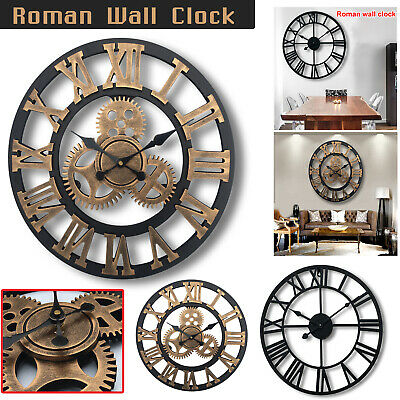 Extra Large Roman Numerals Skeleton Wall Clock Big Giant Open Face Round 40/60Cm