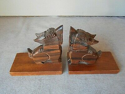 1960s pair of VINTAGE French Wood figural BOOK ENDS / DOGS