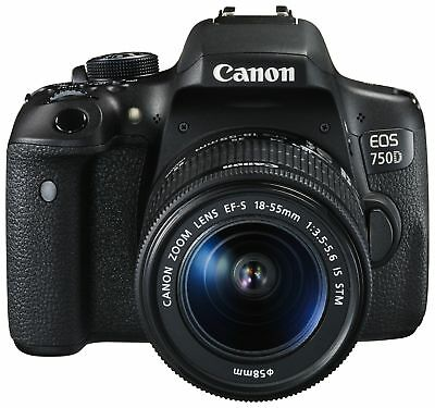 Canon EOS 750D 3 Inch LCD 24MP 1080p DSLR NFC WiFi Camera with 18-55mm Lens