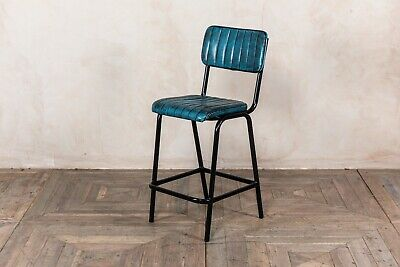 Blue Upholstered Bar Stool In Vintage Style Faux Leather 66Cm Leather Look Stool