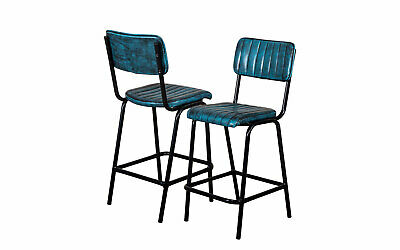 Pair Of Blue Upholstered Bar Stool In Vintage Style Faux Leather 66Cm Leather