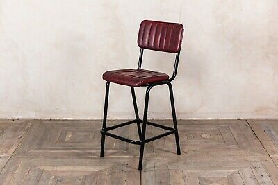 Red Upholstered Bar Stool In Vintage Style Faux Leather 66Cm Leather Look Stool