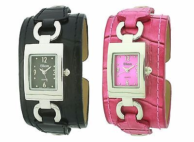 New-Eikon Silver Tone Case With Croc Leather Bracelet,Cuff,Bangle Watch Ek-2027